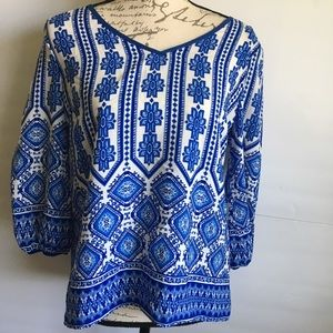 NWT Francesca's Blue and White Blouse
